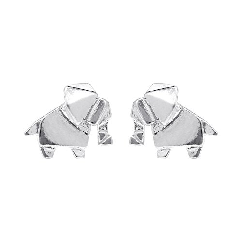 Boma Jewelry Sterling Silver Origami Elephant Animal Stud Earrings