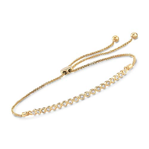 Ross-Simons 0.33 ct. t.w. Bezel-Set Diamond Bolo Bracelet in 18kt Gold Over Sterling