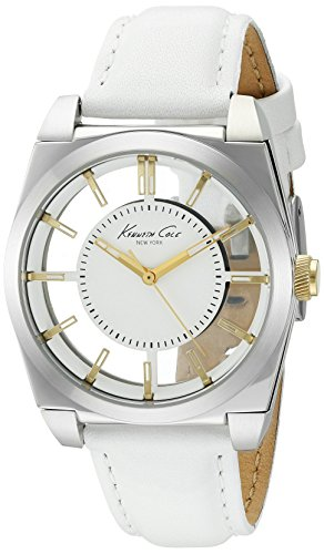 Kenneth Cole New York Women's 'Transparency' Quartz Stainless Steel and Leather Dress Watch, Color:White (Model: 10027848)