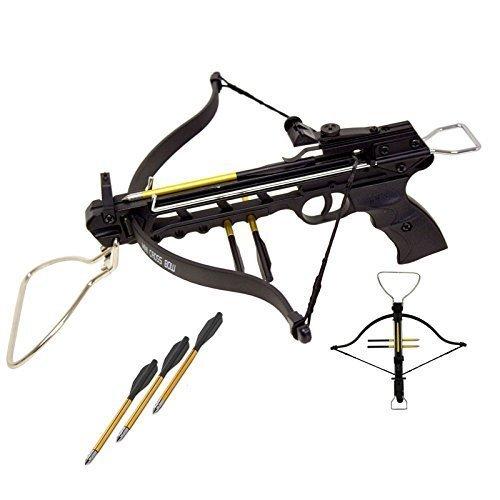 Rogue 80 lbs Aluminum Pistol Crossbow with Build-in Arrow Holder (Black w/ 27 Arrows) (Arrow Aluminum Crossbow)
