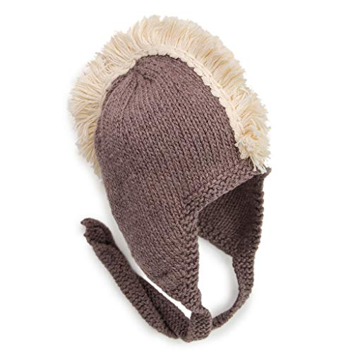 BeanieDesigns Organic Cotton Baby Infant Earflap Beanie Hat Toddler Boys Girls Kid Mohawk Earflap Beanie Cap Brown