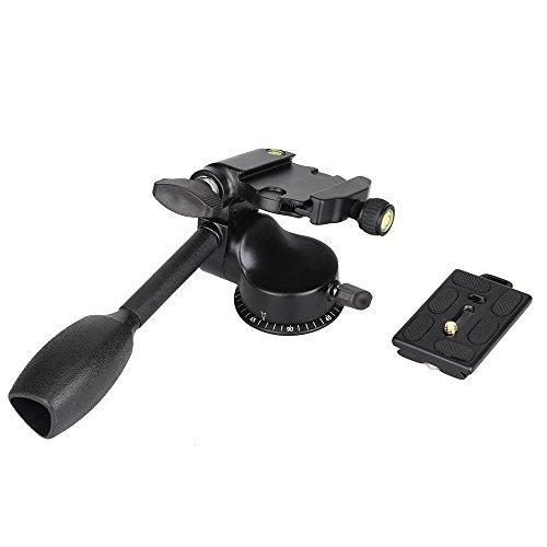 (Andoer Q08 Pro Video Tripod Monopod Ball Head 3-way Fluid Head Rocker Arm with Quick Release Plate for Canon Nikon Sony DSLR Camera Benro Manfrotto Gizto and Velbon Tripod)