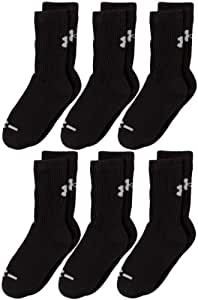 Under Armour Crew Socks (6-Pair), Solid Black, Youth Large