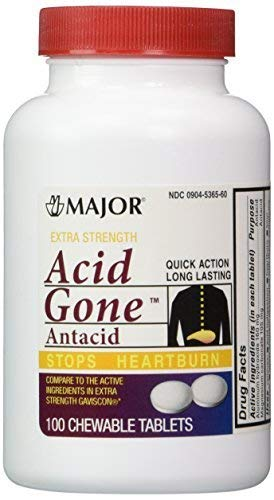 - Acid Gone Antacid Chewable Generic for Gaviscon Extra Strength Chewable Tablets 100 Ct. Per Bottle Pack of 2 Bottles Total 200 Tablets by Major Pharmaceuticals
