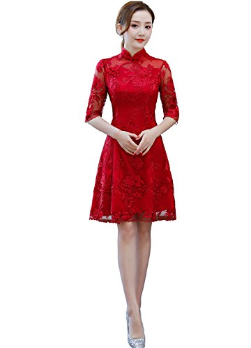 Smakke Women Flower Embroidery Cheongsam Dresses Red Lace Qipao Traditional Dress Chinese Wedding Dress Dark Red M