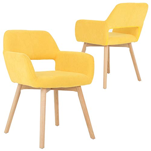 Five Stars Furniture Modern Design Fabric Accent Chair Dining Chair W Solid Wood Leg Living Room Bright Yellow Set of 2