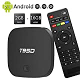 wi fi tv box - EASYTONE Android 7.1 TV Box 2GB RAM 16GB ROM Quad Core CPU,T95D Media Player Supporting 4K Full HD/H.265/3D Outputs Game Player Smart TV Box with WiFi LAN BT