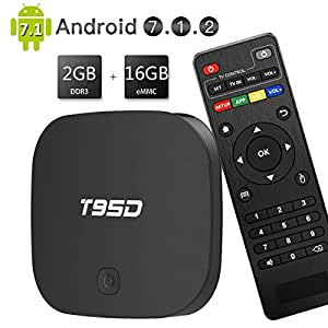 EASYTONE Android TV Box 7 1 Quad Core CPU 2GB RAM 16GB ROM,T95D Media  Player Supporting 4K Full HD/H 265/3D Outputs Game Player for Home  Entertainment
