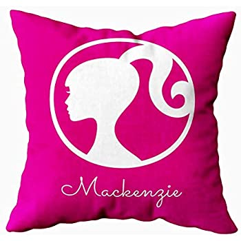 EMMTEEY Home Decor Throw Pillowcase for Sofa Cushion Cover, Barbie Classic Pink Silhouette Decorative Square Accent Zippered and Double Sided Printing Pillow Case Covers 18X18Inch