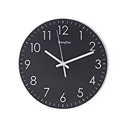 SonYo Indoor/Outdoor Non-Ticking Silent Quartz Modern Simple Wall Clock Digital Quiet Sweep Movement Office Decor 10 Inch(Black)