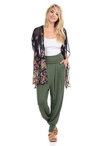iconic luxe Women's Banded Waist Harem Jogger Pants with Pockets Medium Olive