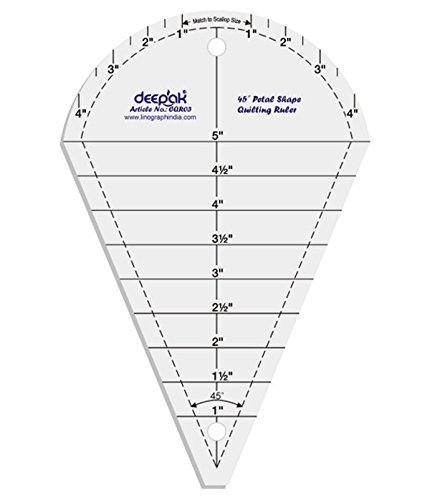 (45° Petal Shape Quilt Designing and Crafting Quilting Ruler Template 5 Inches by LINOGRAPH)