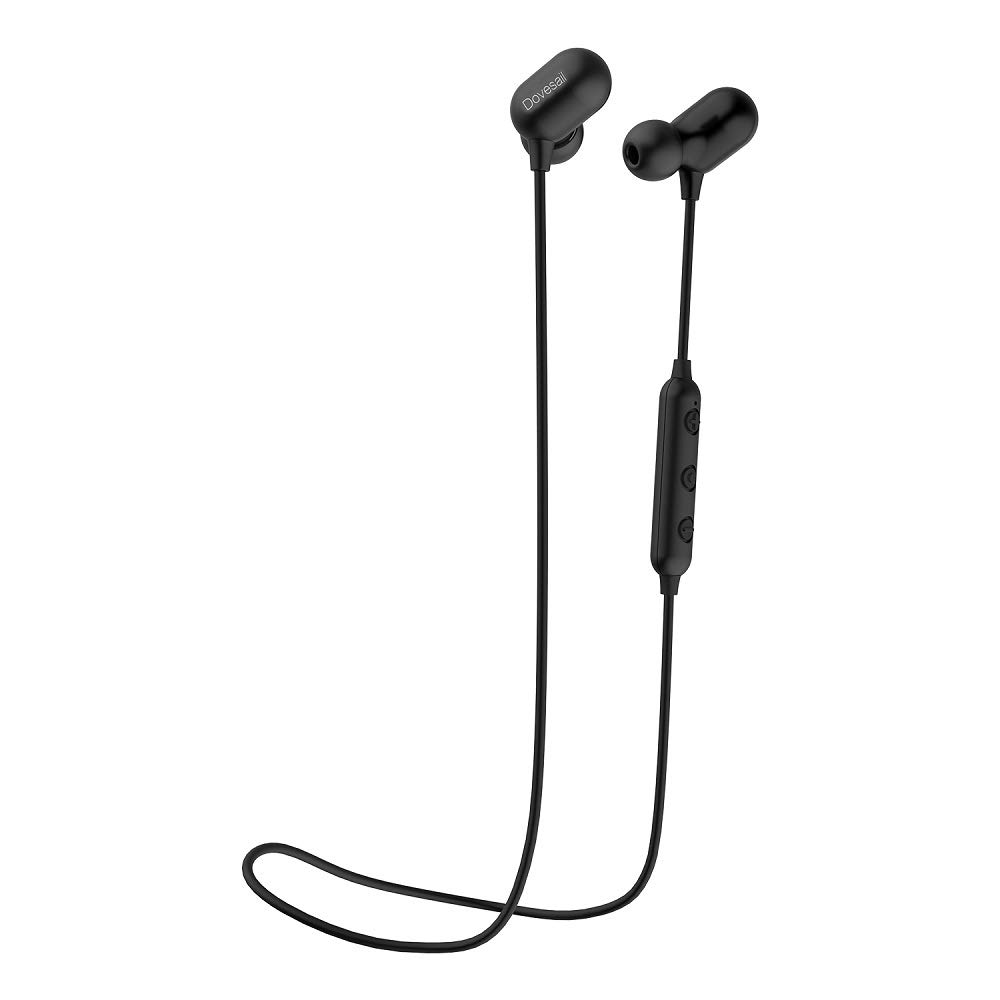 Wireless Headphones, Dovesail Bluetooth Headphones, Sports Earphones, Sweatproof Stereo Earbuds for Gym Running 7 Hours Playtime Noise Cancelling Lightweight & Fast Pairing Headsets-Black