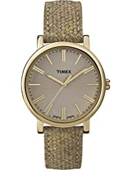 Timex Women's Modern Originals Grande Classics T2P173AW Gold Case and Brown Textured Strap Watch
