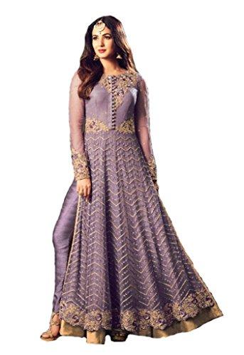(Readymade Anakali Salwar Kameez Georgette Ethnic Suit Indian Dress - Maisha 3 (Light Purple, XS-36))