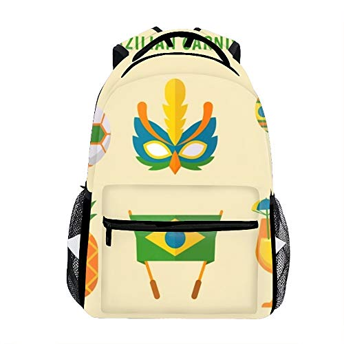 Lightweight Flat Brazilian Carnival Element Collection School Backpack Waterproof Book Bag for Girls Teens Kids