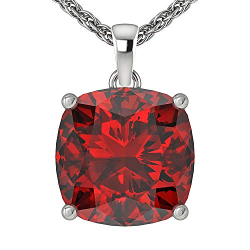 Belinda Jewelz Womens 14k White Gold Cushion Shape Cut Gemstone Rhodium Plated Sparkling Prong Real Sterling Silver Fine Jewelry Classic Chain Hanging Pendant Necklace, 4.7 Ct Garnet Red, 18 inch