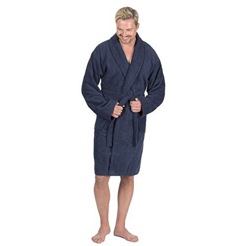 Pierre Roche Mens Towelling Bath Robe Cotton Terry Cloth Shawl Collar Dressing Gown