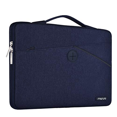 MOSISO 360° Protective Laptop Briefcase Handbag Compatible 13-13.3 Inch MacBook Pro, MacBook Air, Polyester Shockproof Retractable Handle Carrying Sleeve Case Cover Bag, Navy Blue