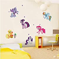 GUOXIN12 Cartoon for Little Pony Wall Sticker, DIY Removable Art Decal Girl Kids Children Room Backdrop Horse DIY Wall Decoration Poster
