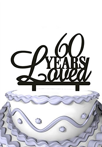 Meijiafei 6Oth Birthday Cake Topper60 Years Loved Topper 60th Anniversary Amazoncouk Kitchen Home