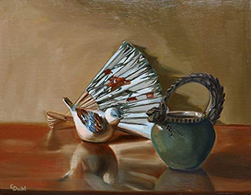 Bird with Dragon Tea Kettle and Asian Oriental Floral Fan Still Life Wall Decor 11