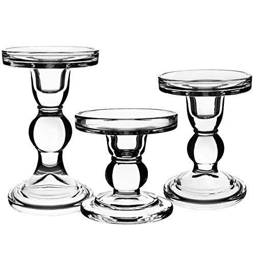 CentAnni Essentials Clear Glass Candle Holders Set of 3 for Pillar Taper & Tealight Candles, Perfect Decoration Candlesticks - Candle Stand Holder
