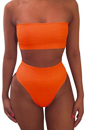 Viottis Women's Strapless No Pad High Waist 2PCS Swimsuit Bathing Suit Orange - Strap No Bikini