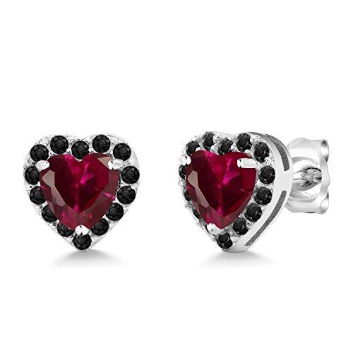 Earring Ruby 5mm Created Heart (1.20 Ct Heart Shape 5mm Red Created Ruby 925 Sterling Silver Stud Earrings)