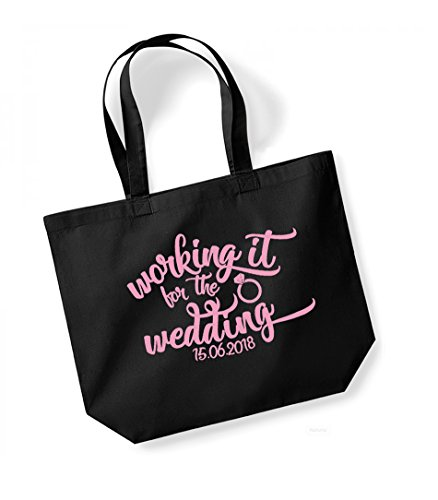 Working It For The Wedding - Personalised Date - Large Canvas Fun Slogan Tote Bag Black/pink