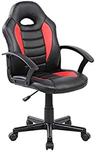 Techni Mobili Kid's Gaming and Student Racer Chair with Wheels, Red