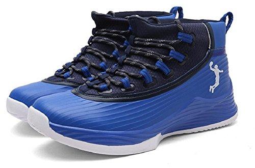 Jiye Mens Prestaties Basketbalschoenen Buiten Ademende Mode Sneakers Zwart Blauw