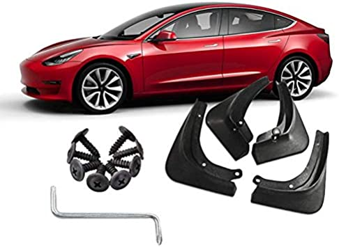 Foonee 4 Pcs Tesla Model 3 Mud Splash Guards Black Fender Cover with Fixing Screw Strong Toughness Plastic Mud Flaps for Front and Rear Wheels