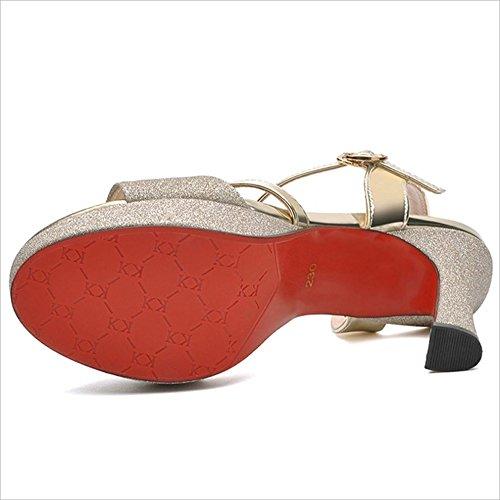 zapatos de Sandalias Heels de de Oro única de mujeres Super EU36 UK3 baile 11cm boca zapatos 5 las Summer pescado hebilla CN3 High plata zapatos Color oro impermeables Tamaño Sandalias Oro Vintage Hw8q0d8