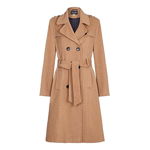 De La Crème - Womens Wool & Cashmere Belted Long Military Trench Coat, CAMEL, Size 12