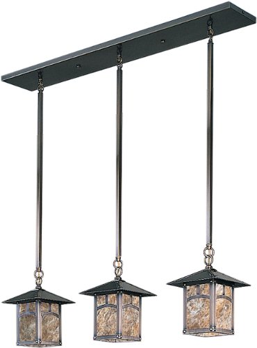 Arroyo Craftsman EICH-9/3AAM-BZ Evergreen Collection 3-Light Island Pendant, Bronze Finish with Almond Mica Panels