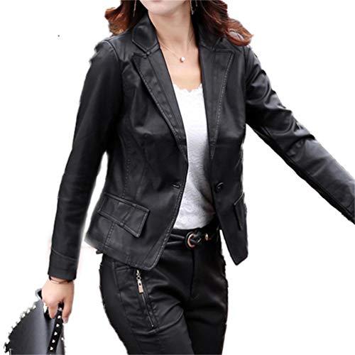 Faux Manteaux Femmes Longues Noir Casual Manches Qixuan Zipper Manches Longues Manteaux Cuir vXx8vUn