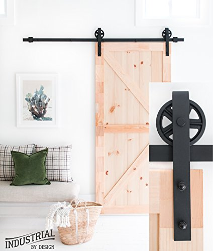 (Industrial By Design - 6ft 7in Big Wheel Sliding Barn Door Hardware Kit (Black) - Step-by-Step Installation Video - Ultra Quiet - One-Piece Rail, Industrial Spoke Wheel)