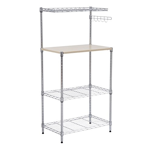 Bakers Rack Kitchen Cart Microwave Stand Cutting Board Workstation New 4-Tier 47'' by totoshopkitchen