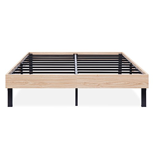 SLEEPLACE 14 Inch Classic Natural Wood Finished Platform Bed