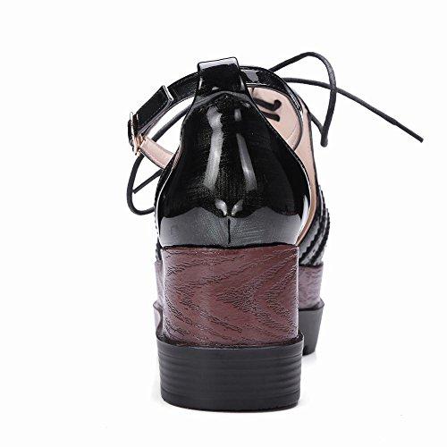 Carolbar Femmes Punk Style Cheville Sangle Boucle Lacets Plateforme Oxfords Sandales Vert