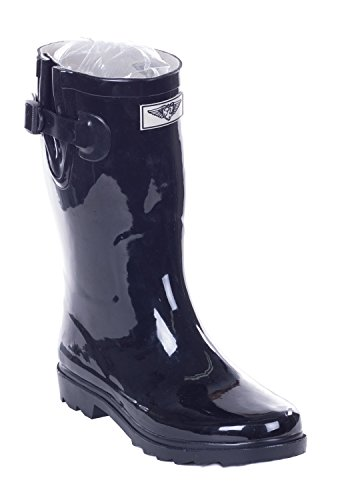 Forever Young Women Mid-Calf Black Rubber Rain Boot, 11