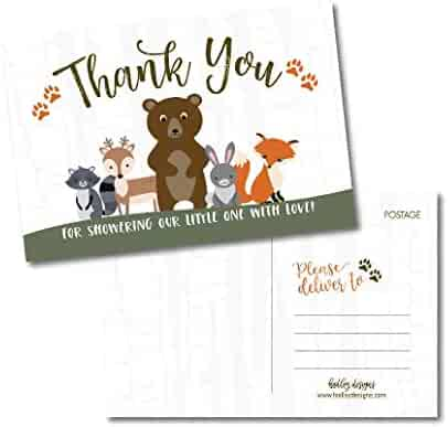 25 Girl or Boy Woodland Baby Shower Thank You Note Card Bulk Set, Blank Cute Animals Gender Reveal Neutral Sprinkle Postcards, No Envelope Needed For Party Gift, Personalize Printable Cardstock