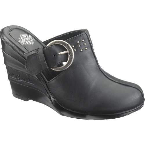 Harley Davidson Anna Black Leather Womens Platform Clogs T2zVT