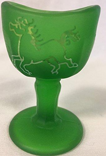 Eye Wash Eye Bath Cup - John Bull Style - Sand Carved - Emerald Green Satin (Horse / Horseshoes) (Emerald Horseshoe)