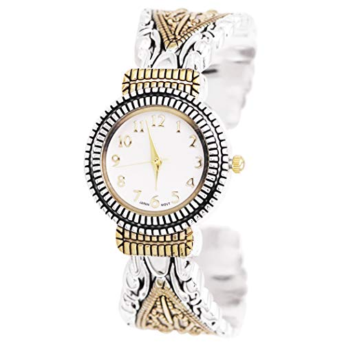 Rosemarie Collections Women's Stylish Concho Two Tone Bangle with Intricate Detail Cuff Bracelet Watch ()