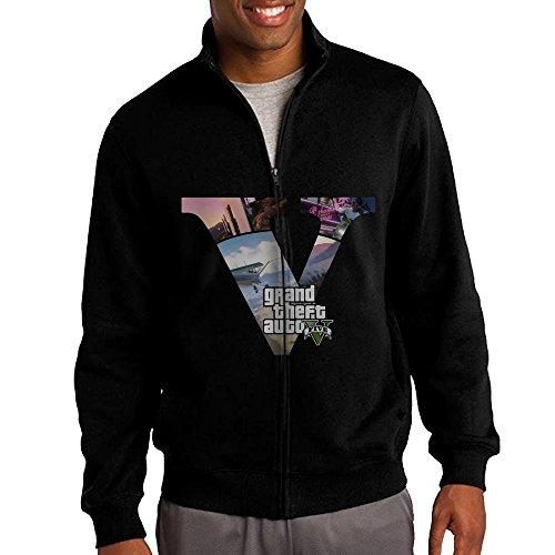 NHJH Men's GTA5 Zip-Up Hooded Sweatshirt Jackets Black Size M