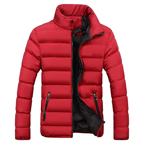 Men's Windbreakers Solid Winter Jacket Men Casual Parkas Men Thermal Coats Slim Fit,BlackRed,XXL