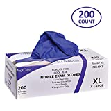 ProCure Disposable Nitrile Gloves – Powder Free, Rubber Latex Free, Medical Exam Grade, Non Sterile, Ambidextrous - Soft with Textured Tips – Cool Blue (X-Large, 1 Pack, 200 Count)