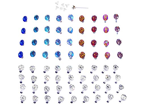 Set of Nylon Posts Plastic Posts Crystal Stud Hypoallergenic Earrings (18 Pairs Vibrant Color and 18 Pairs Clear Crystals)